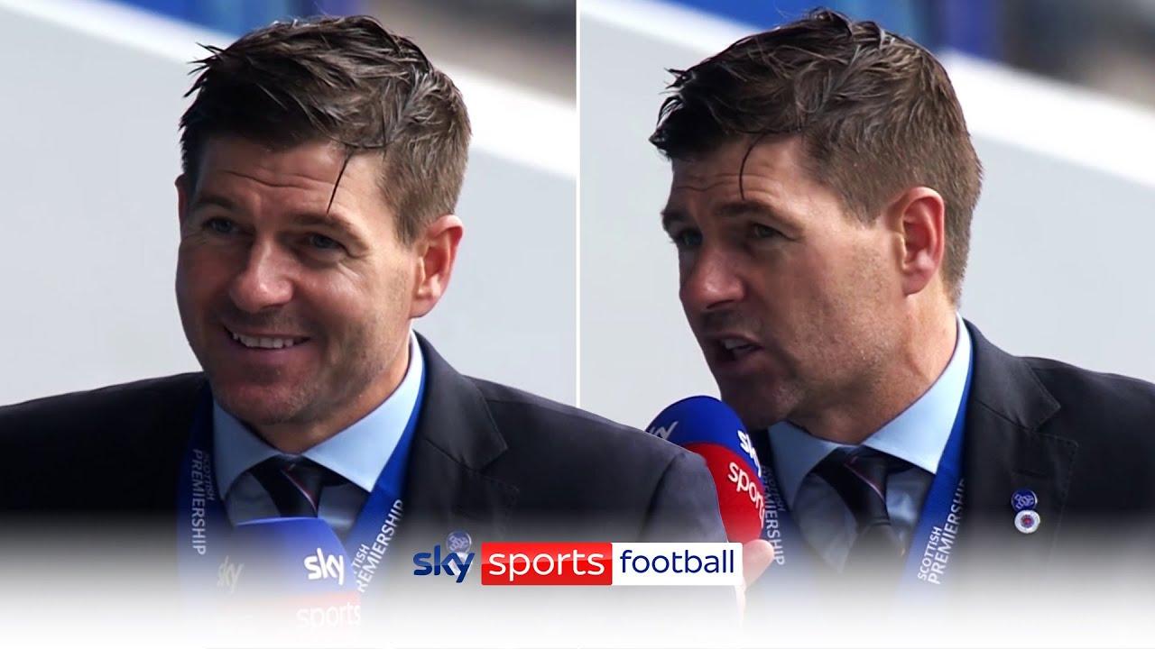 Steven Gerrard reacts to Rangers winning title in unbeaten season! 🏆