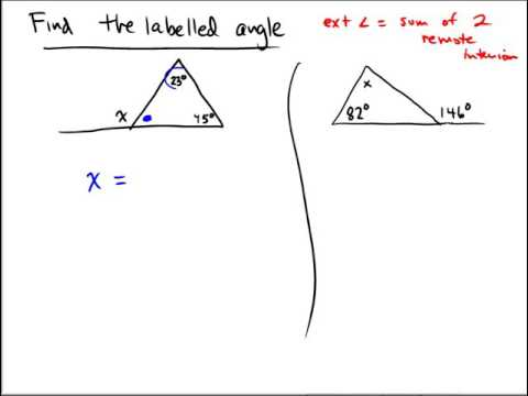 Finding an angle measure for a triangle with an extended side