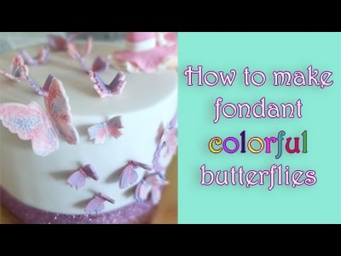How to make corolful butterflies from fondant tutorial/ Jak zrobić kolorowe motylki z masy cukrowej