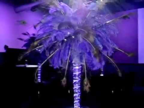 Peacock Themed Purple Ostrich Feather Centerpieces by Sweet 16 Candelabras