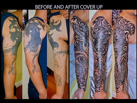 Massive Tattoo Cover Up Fighting Through The Pain Guy Chest