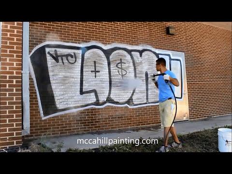 Graffiti Removal Off Brick Building - Chicagoland