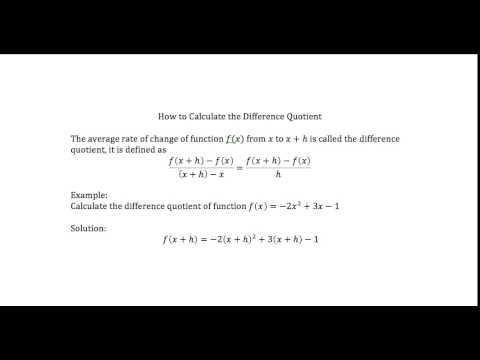 How to Calculate Difference Quotient