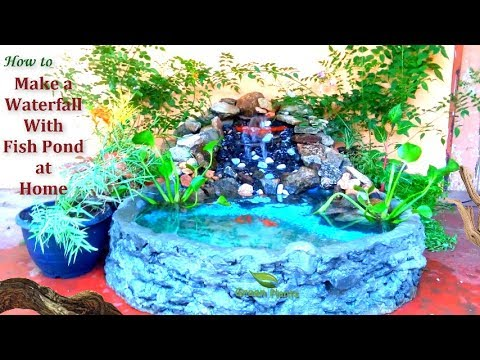 How to Make a Waterfall With Fish Pond at Home | Waterfall Make Using Waste Materials //GREEN PLANTS
