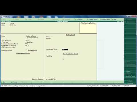 Creating GST Ledger ( CGST, SGST, CESS ) in Tally ERP