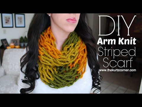 DIY Arm Knitting - 30 Minute Striped Infinity Scarf