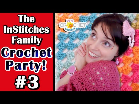 Granny Shell Stitch Blanket W.I.P -  The InStitches Family Crochet Party - Ep. 3