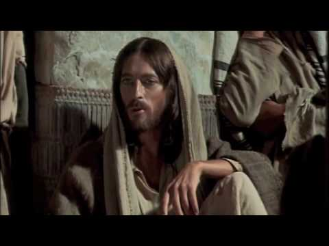 Jesus teaching in the temple, casting out demons - from the movie Jesus of Nazareth