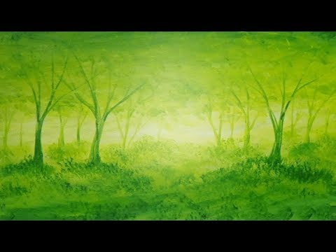Acrylic Painting Green Forest Light Monochromatic Impressionism