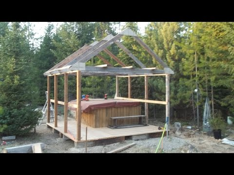 Time to build a Hot tub deck with snow roof part # 3
