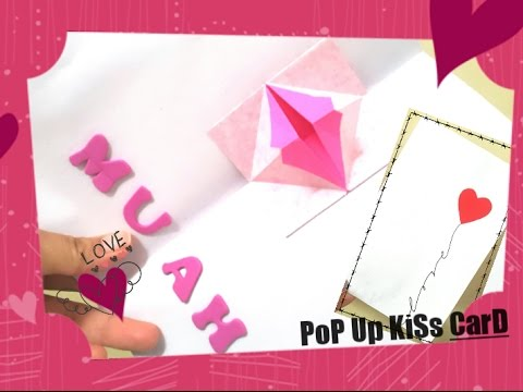 How to Make Pop Up Cute Kissing Lips Card - Homemade valentines day card - DIY Valentine's day Card