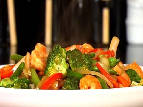 Colorful Shrimp Stir-Fry & Roasted Sweet Potatoes
