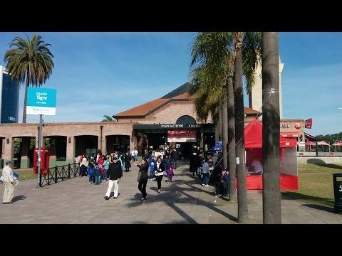 Catching a train at Tigre Station (Estacion Tigre) in Tigre, Argentina