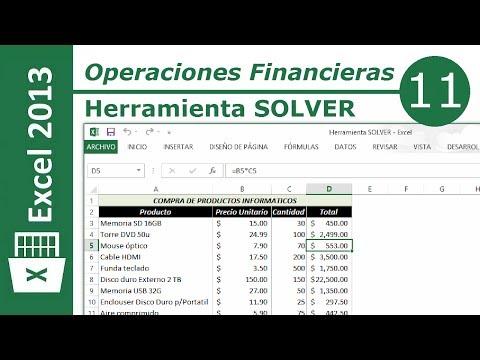 Herraminta SOLVER   Excel 2013 Operaciones Financieras #11/12