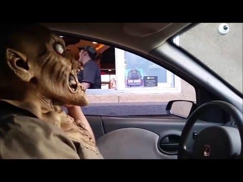 Zombie Mask Drive-Thru Reaction