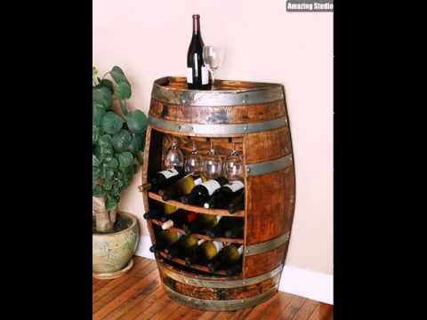 DIY Wine Barrel Bar Storage