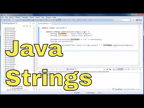 Java Tutorial - 10 - Determining if Two Strings are Equal