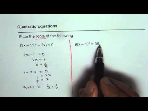Find Roots of Quadratic Equation in Factor and Squares Form