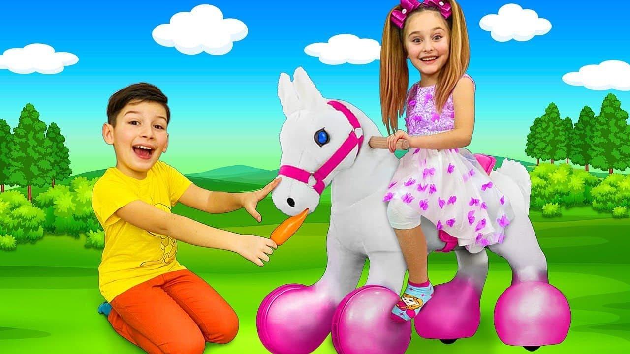 Sasha and her new Pony Unicorn