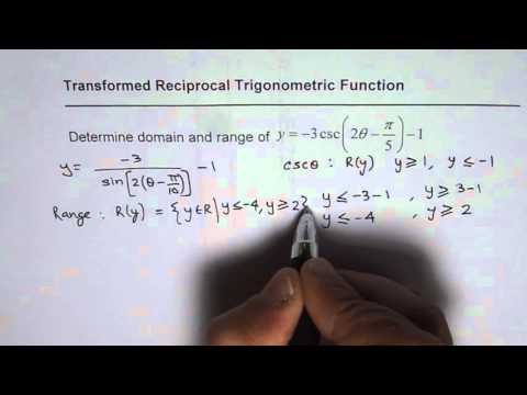 Find Domain and Range of Reciprocal Transformed Trig Functions MHF4U