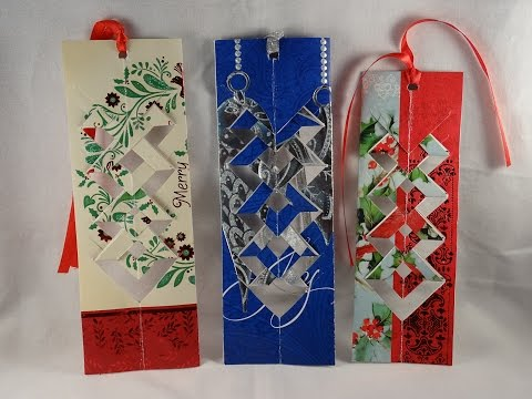 How to make a bookmark out of a recycled Christmas card-with yoyomax12