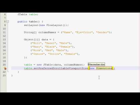 Java GUI Tutorial 19 - JTable