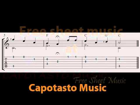 Free guitar tablature sheet music, Happy Birthday To You easy solo version
