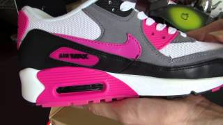 finest selection 38bdf 90d06 Nike Air Max 90 Women Essential White Pink Foil Black Trainers