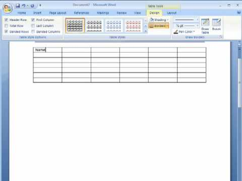 Working with tables in Microsoft Word 2007