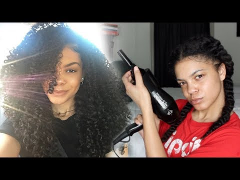 How to Blow Dry/Prep Curly Hair for Box Braids
