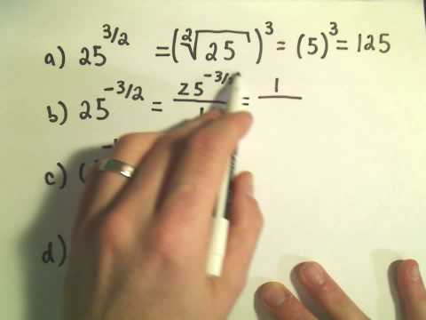Evaluating Numbers with Rational Exponents by using Radical Notation - Basic Example 1
