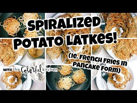 Spiralized Potato Latkes! Vegan Potato Pancakes! For a Healthy Hanukkah!