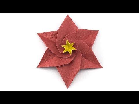 Six-petals origami poinsettia flower tutorial (Hyo Ahn)