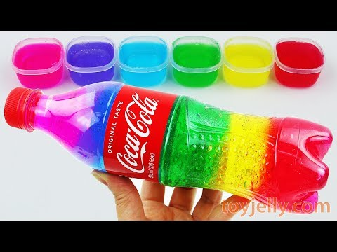 DIY How To Make Rainbow Cola Bottle with Slime Clay Jelly Learn Colors with Baby Toys Fun for Kids
