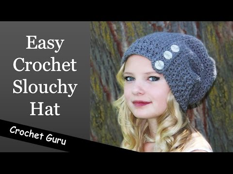 Easy Crochet Slouchy Hat - Button Down Slouch Hat