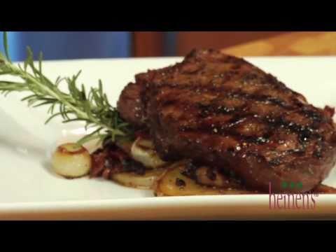 Rosemary Balsamic Sirloin Steak with Bacon, Portobello, and Yukon Potato Hash
