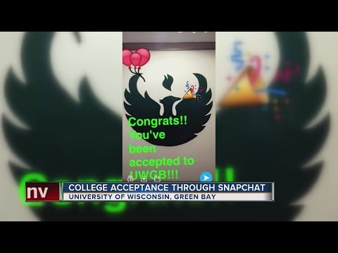 Students being notified of college acceptance via Snapchat