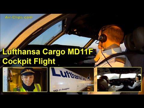 Lufthansa Cargo MD-11F full cockpit flight to New York JFK, AMAZING! [AirClips full flight series]