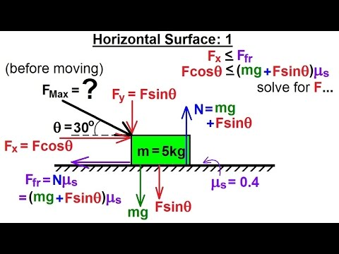 Physics - Mechanics: Friction & Forces at Angles (1 of 8) Horizontal Surface: 1