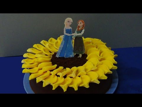 how to make sunflower cake and decorate as frozen