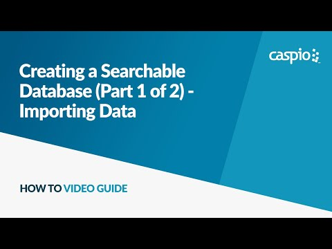 Creating a Searchable Database (Part 1 of 2) - Importing Data