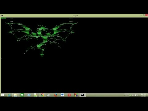 make a dragon image in cmd using notepad++