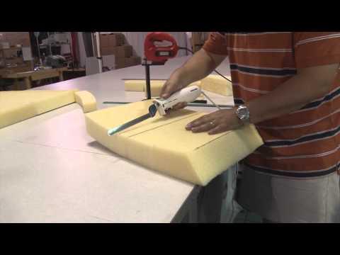 Cutting Cushion Foam using Electric Kitchen Knife