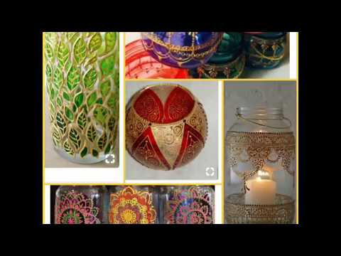 Home Decor with Glass Painting|| Mason Jar decor ideas|| 3D Outliner art|| Mandala ART||