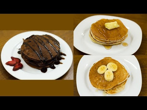 EGGLESS 3 EASY DIFFERENT PANCAKE RECIPE l CHOCO PANCAKE l BANANA PANCAKE l BASIC PANCAKE