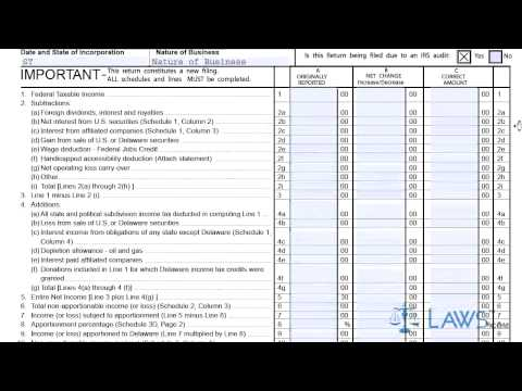 Form 1100X Amended Delaware Corporation Income Tax Return