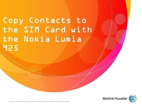 Nokia Lumia 925 : Copy Contacts to the SIM Card
