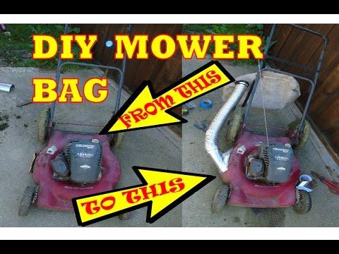 DIY lawn mower mulch catch bag.