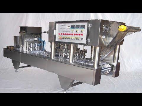Popcorn cups filling sealing machine fully automatic 2lanes filler Lebensmittelverpackungsmaschine