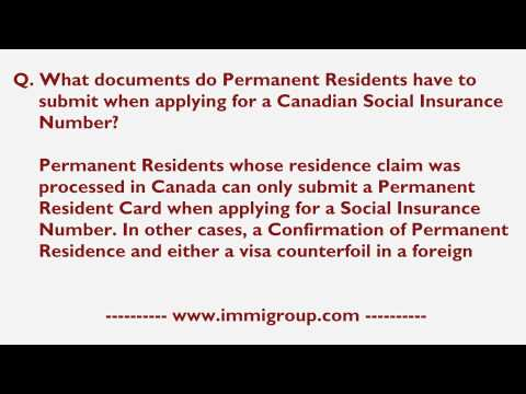 What documents do Permanent Residents have to submit when applying for a Canadian SIN?